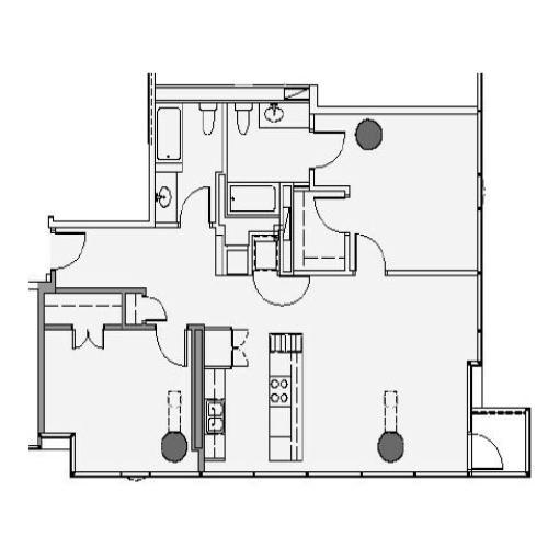 2 Bed 2 Bath Floor Plan 2d