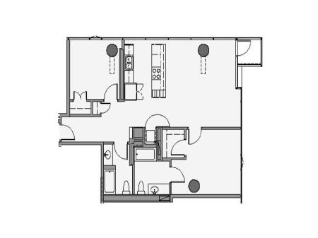2 Bed 2 Bath Floor Plan 2e