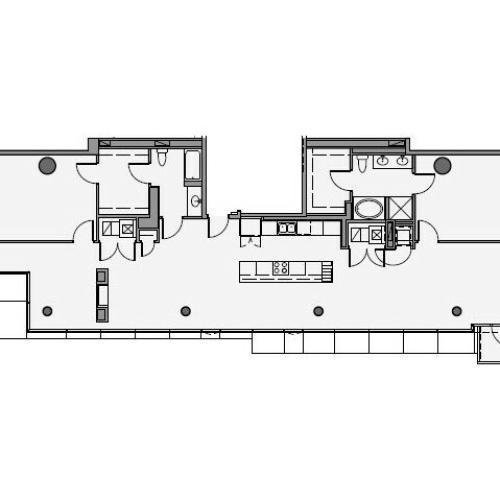 2 Bed 2 Bath Floor Plan 2p2