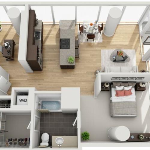 1 Bed 1 Bath + Den Floor Plan 1ed