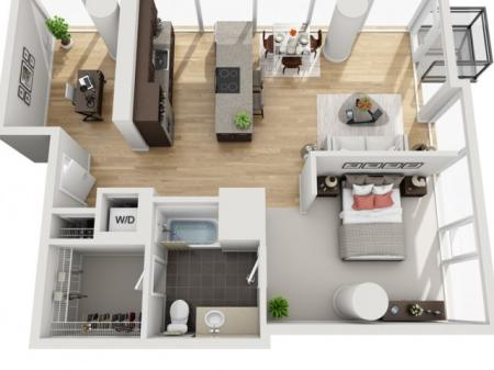 1 Bed 1 Bath Floor Plan 1fd