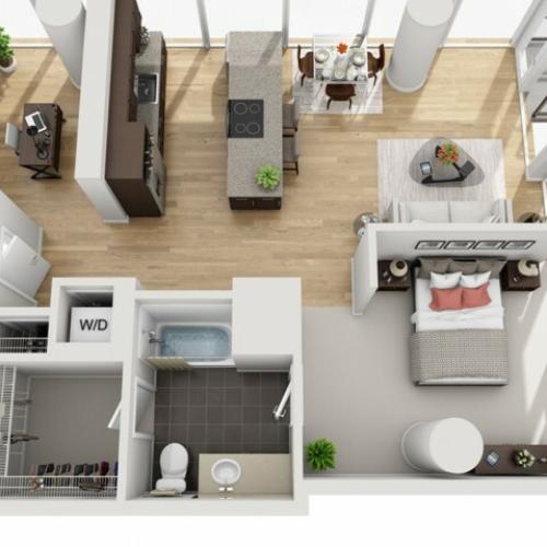 1 Bed 1 Bath Floor Plan 1fd