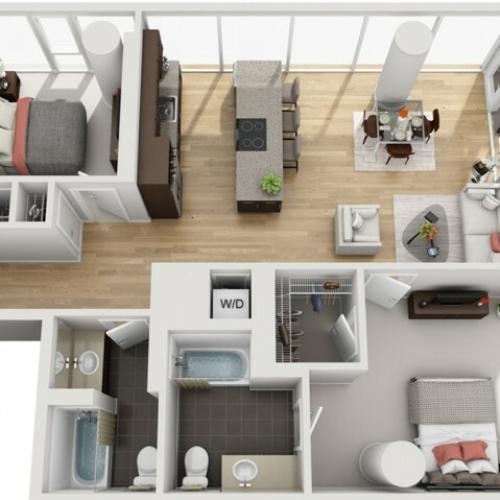 2 Bed 2 Bath Floor Plan 2c