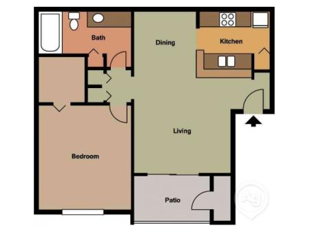 Bermuda one bedroom one bathroom floor plan