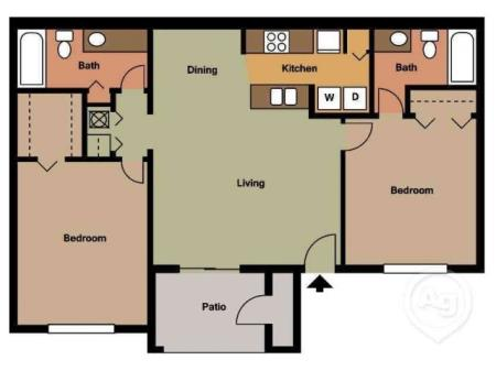 St. Croix two bedroom two bathroom floor plan