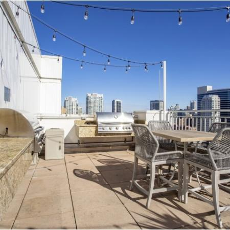 Rooftop grilling station in west loop | 180 North Jefferson Apartments