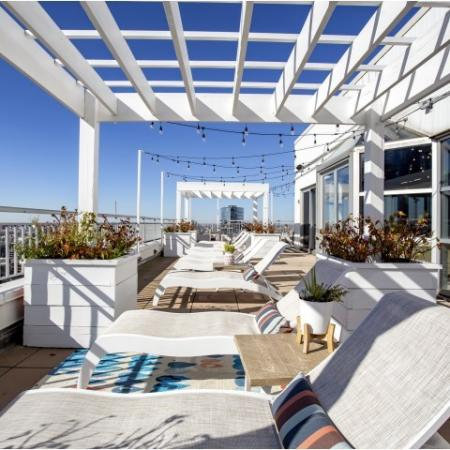 Rooftop sundeck with lounge area and city views
