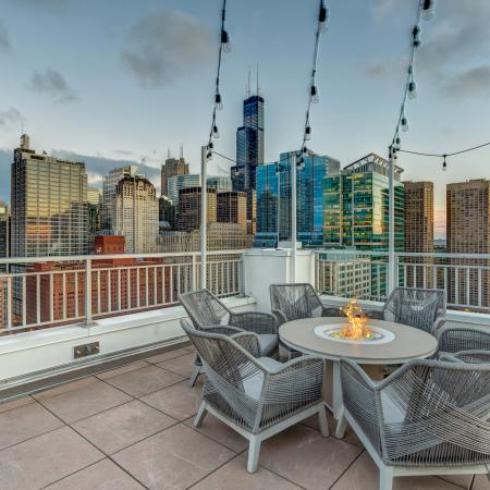 Rooftop fire pit with lounge area and Chicago skyline view