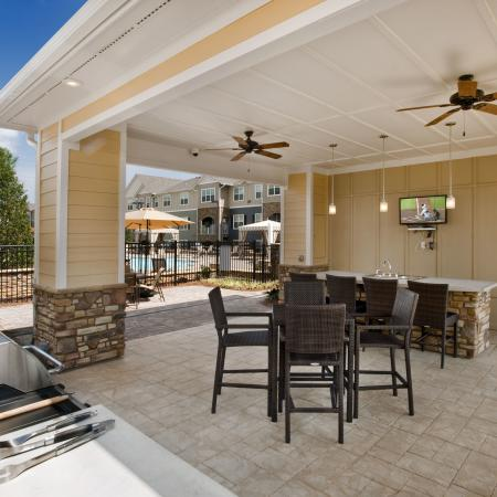 Covered outdoor kitchen area with grilling station