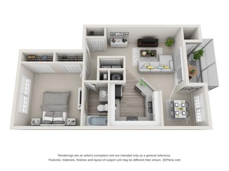 Palm 878 Square Feet One Bedroom | One Bathroom