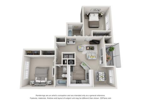Royal 1022 Square Feet Two Bedroom | Two Bathroom