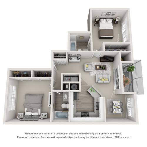 Royal 1022 Square Feet Two Bedroom | Two Bathroom