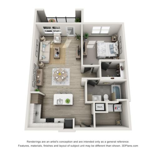 Madeira A2 One Bedroom Floor Plan
