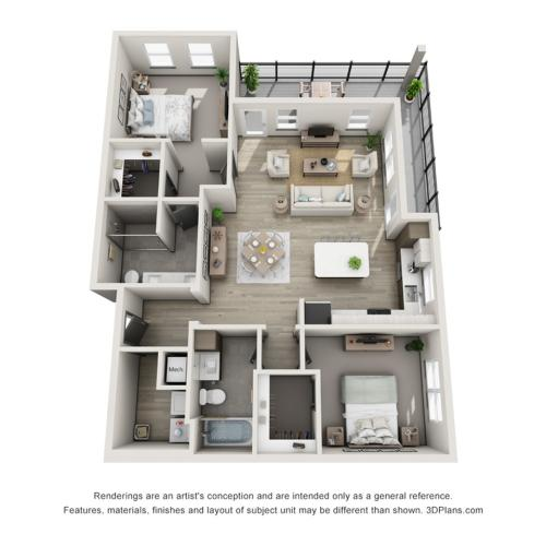 Sand Key B2 Two Bedroom Floor Plan