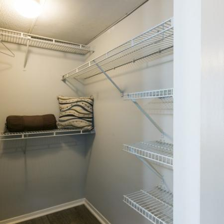 Walk in closet with ample wire shelving
