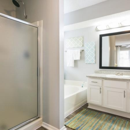 Large bathroom with shaker style cabinets, garden tub and separate stand up shower