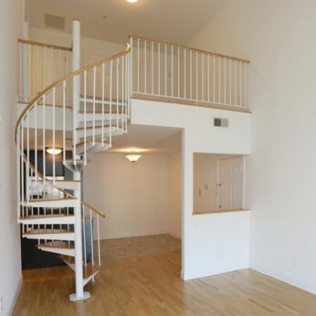 View from the living area, large loft are and eat in kitchen. 1,442 square feet!