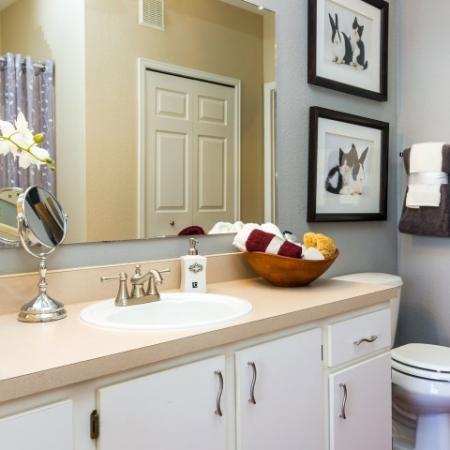 bathroom with large countertop and storage