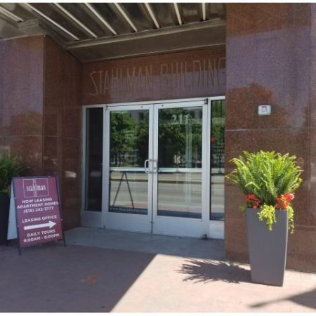 Entrance to the leasing office for the Stahlman Building