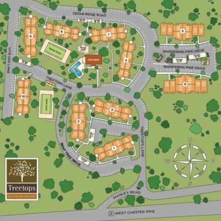 Site map of all buildings and amenities on the property.