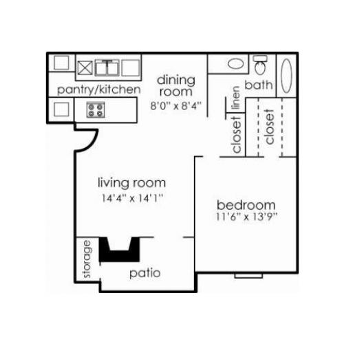 1BED, 1BATH -- 798 sq. ft -- A1D
