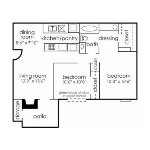 2BED, 1BA, 912 sq ft -- B1A