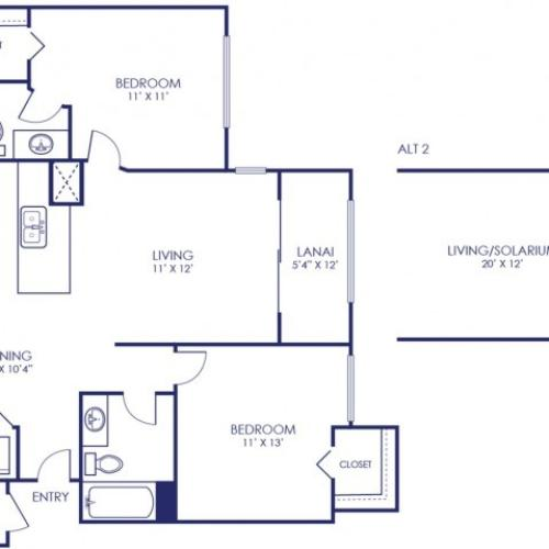 Sandpiper 914 Square Feet Two Bedroom | Two Bathroom