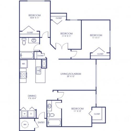Ibis 1344 Square Feet Four Bedroom | Two Bathroom