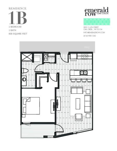 1 Bed 1 Bath Floor Plan 1B