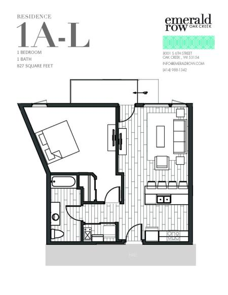 1 Bed 1 Bath Floor Plan 1AL