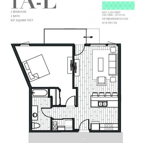 1 Bed 1 Bath Floor Plan 1AL