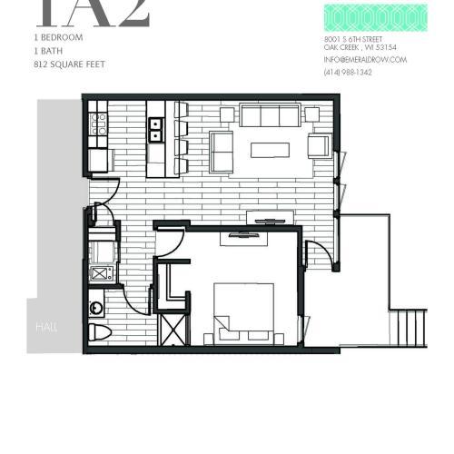 1 Bed 1 Bath Floor Plan 1A2