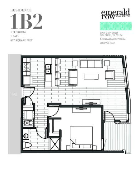 1 Bed 1 Bath Floor Plan 1B2