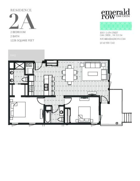 2 Bed 2 Bath Floor Plan 2A