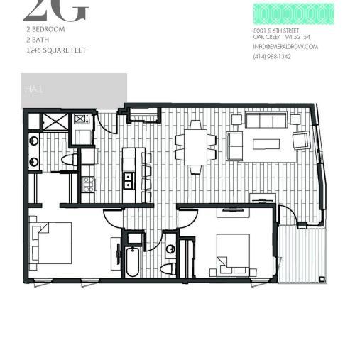 2 Bed 2 Bath Floor Plan 2G