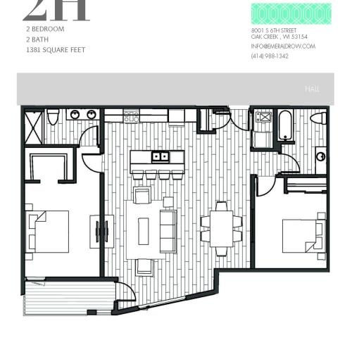 2 Bed 2 Bath Floor Plan 2H