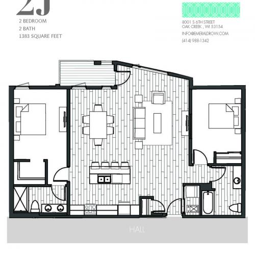 2 Bed 2 Bath Floor Plan 2J