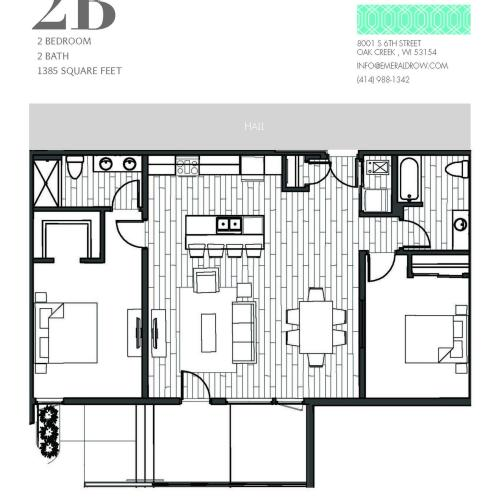 2 Bed 2 Bath Floor Plan 2B
