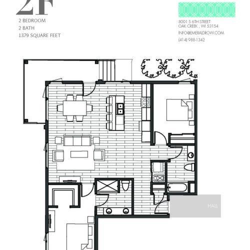 2 Bed 2 Bath Floor Plan 2F