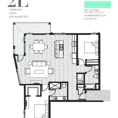 2 Bed 2 Bath Floor Plan 2L