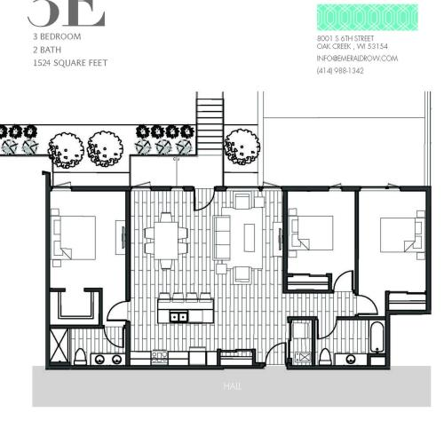 3 Bed 2 Bath Floor Plan 3E
