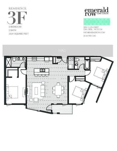 3 Bed 2 Bath Floor Plan 3F
