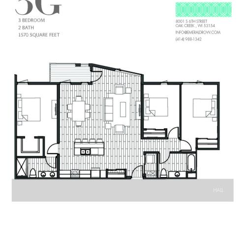 3 Bed 2 Bath Floor Plan 3G