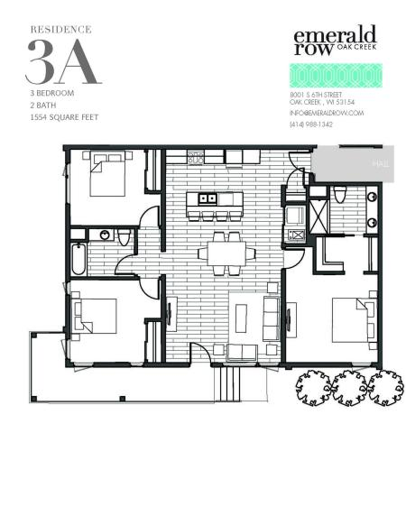 3 Bed 2 Bath Floor Plan 3A