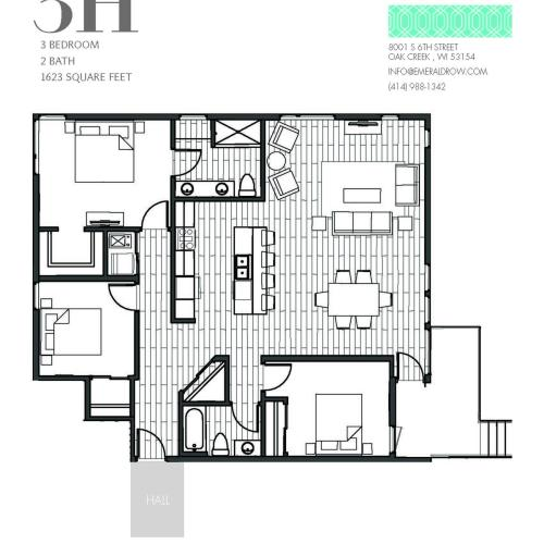 3 Bed 2 Bath Floor Plan 3H
