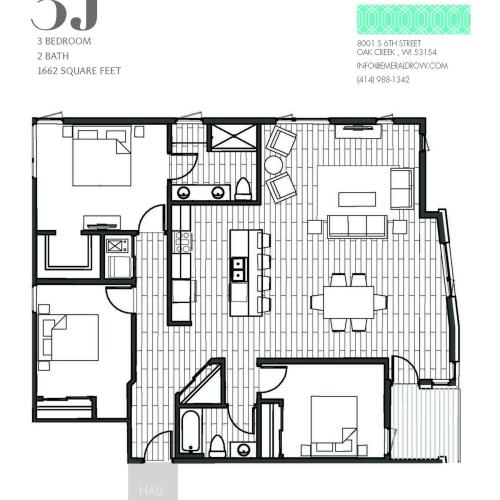 3 Bed 2 Bath Floor Plan 3J