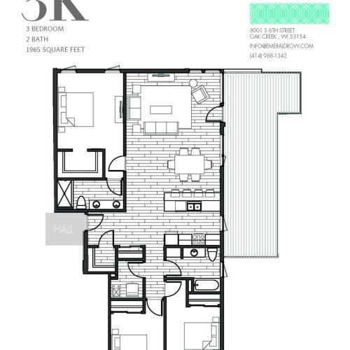 3 Bed 2 Bath Floor Plan 3K