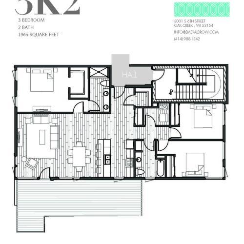 3 Bed 2 Bath Floor Plan 3K2