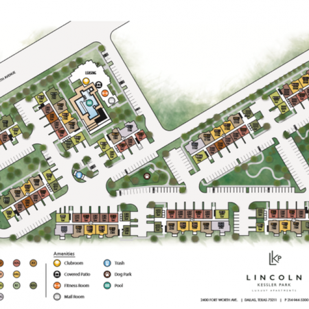 Site Map, colored by unit type and amenities.