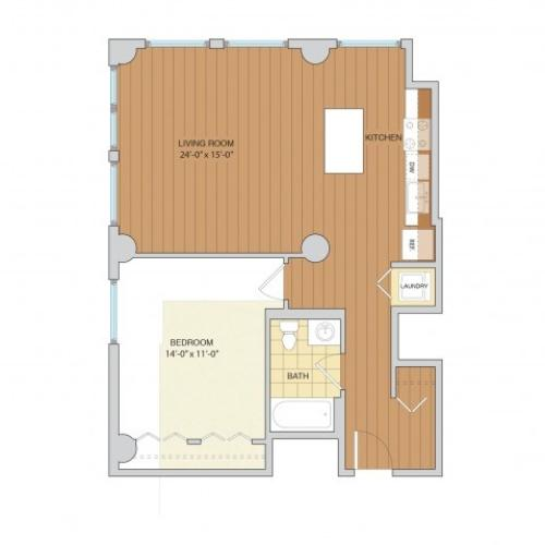 1 Bed 1 Bath Floor Plan A17